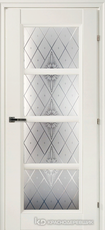 Дверь Краснодеревщик 33 40Ф (стекло Роса) с фурнитурой, Белый CPL